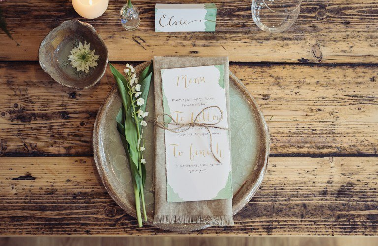 Unique, Rustic Wedding Table Setting at The Forest Side