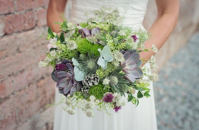 Unique, Rustic Wedding Bouquet at The Forest Side hotel in Grasmere